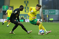 20th April 2021; Carrow Road, Norwich, Norfolk, England, English Football League Championship Football, Norwich versus Watford; Max Aaron of Norwich City under pressure from Ken Sema of Watford