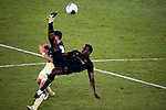 Jesus Murillo of Los Angeles FC (USA) and Federico Vinas of Club America (MEX) fight for the ball during their CONCACAF Champions League Semi Finals match at the Orlando's Exploria Stadium on 19 December 2020, in Florida, USA. Photo by Victor Fraile / Power Sport Images