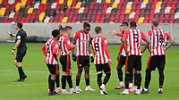 Brentford's Henrik Dalsgaard calls the players together for a impromptu chat after Preston score their second goal during Brentford vs Preston North End, Sky Bet EFL Championship Football at the Brentford Community Stadium on 4th October 2020