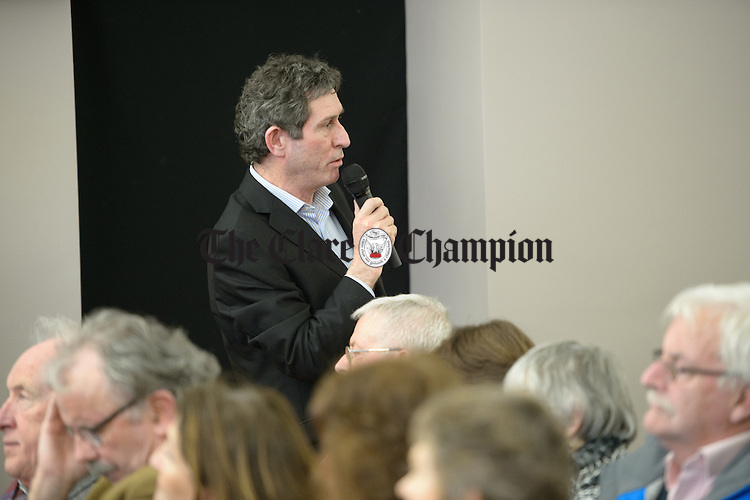 Dr Gerry Crowley f Mulranny, Mayo  speaking at a public meeting as part of the #nodoctornvillage campaign in Corofin Hall. The meeting ratified Dr. Michael Harty as the Clare GP candidate for the forthcoming General election. Photograph by John Kelly.