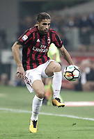 Calcio, Serie A: Milano, stadio Giuseppe Meazza, 15 ottobre 2017.<br /> Milan's Ricardo Rodriguez in action during the Italian Serie A football match between Inter and Milan at Giuseppe Meazza (San Siro) stadium, October15, 2017.<br /> UPDATE IMAGES PRESS/Isabella Bonotto