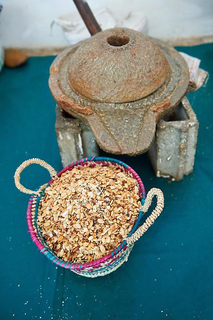 Hand mill and roasted Argan nuts. Cooperative Marjana, Ounara, Essouira, Morocco
