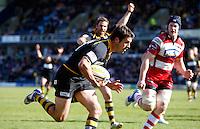 Photo: Richard Lane/Richard Lane Photography. London Wasps v Gloucester Rugby. Aviva Premiership. 01/04/2012. Wasps' Hugo Southwell breaks for a try.