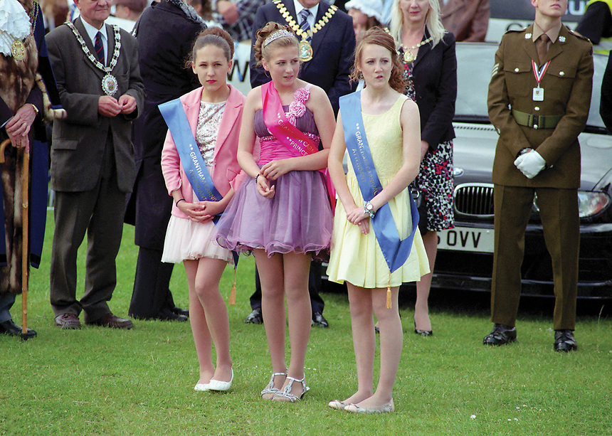 """Princess of Grantham, Antonia Towning attended by Miss Jessica Smith & Miss Francesca Morley.<br /> <br /> """"Antoniaís face was a picture of surprise when her name was called out as Carnival Princess by ceremony compere Ross Garrigan."""""""