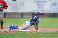 Ogden Raptors left fielder Daniel Robinson (50) reacts after being called out on a stolen base attempt during a Pioneer League game against the Billings Mustangs at Lindquist Field on August 17, 2018 in Ogden, Utah. The Billings Mustangs defeated the Ogden Raptors by a score of 6-3. (Zachary Lucy/Four Seam Images)