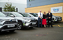 06/09/19<br /> <br /> L/R:  Roy Munson (Toyota Derby), Colette Harris (Toyota GB), and Paul Cogan (DHU Transport Manager)<br /> <br /> DHU Health Care take delivery of six Toyota RAV 4 at their Derby offices.<br /> <br /> All Rights Reserved, F Stop Press Ltd +44 (0)7765 242650 www.fstoppress.com rod@fstoppress.com