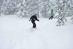 Grand Targhee Snowboard instructor Mike Caufield and snowboarder Emma Shapera,<br /> Grand Targhee, Wyoming
