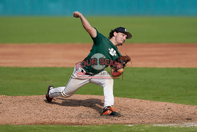 Mitchell Spencer (44) of the University of South Carolina Upstate Spartans delivers a pitch in the Green and Black Fall World Series Game 2 on Saturday, October 31, 2020, at Cleveland S. Harley Park in Spartanburg, South Carolina. Green won, 6-5. (Tom Priddy/Four Seam Images)