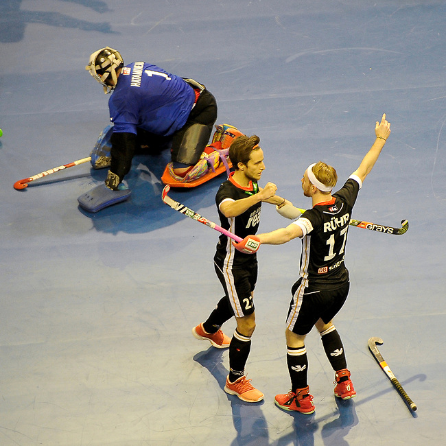 Berlin, Germany, February 10: During the FIH Indoor Hockey World Cup semi-final match between Germany (black) and Iran (white) on February 10, 2018 at Max-Schmeling-Halle in Berlin, Germany. Final score 6-2. (Photo by Dirk Markgraf / www.265-images.com) *** Local caption *** Christopher RUEHR #17 of Germany, Marco MILTKAU #22 of Germany