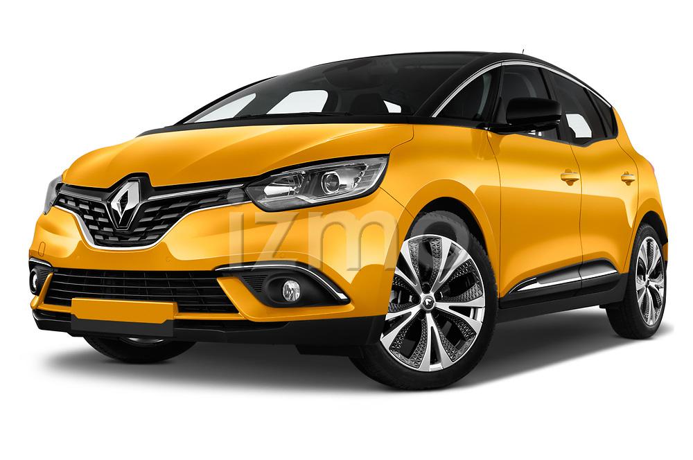 Stock pictures of low aggressive front three quarter view of 2017 Renault Scenic Intens 5 Door Minivan Low Aggressive