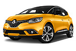 Stock pictures of low aggressive front three quarter view of 2017 Renault Scenic Intens 5 Door Minivan Low Aggressive