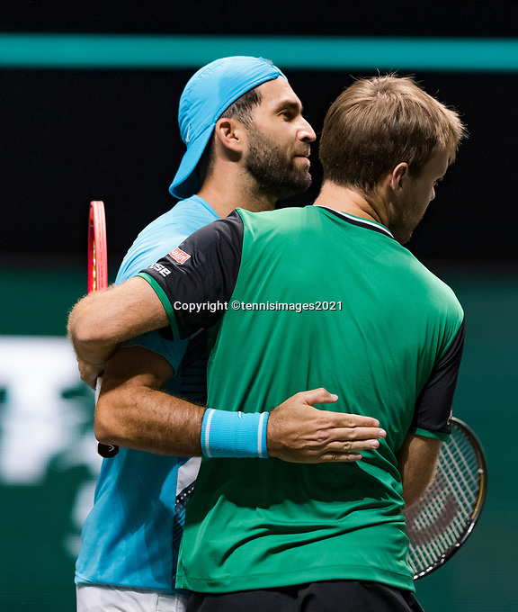 Rotterdam, The Netherlands, 4 march  2021, ABNAMRO World Tennis Tournament, Ahoy, Second round doubbles: Keving Krawietz (GER) / Horia Tecau (ROU).<br /> Photo: www.tennisimages.com/