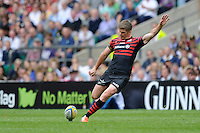 Owen Farrell of Saracens takes a penalty kick during the Aviva Premiership Final between Saracens and Northampton Saints at Twickenham Stadium on Saturday 31st May 2014 (Photo by Rob Munro)