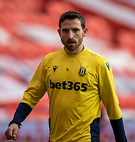 9th January 2021; Bet365 Stadium, Stoke, Staffordshire, England; English FA Cup Football, Carabao Cup, Stoke City versus Leicester City; Joe Allen of Stoke City during the warm up