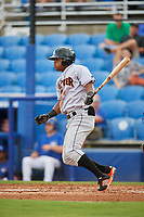 Jupiter Hammerheads left fielder Stone Garrett (33) follows through on a swing during a game against the Dunedin Blue Jays on August 14, 2018 at Dunedin Stadium in Dunedin, Florida.  Jupiter defeated Dunedin 5-4 in 10 innings.  (Mike Janes/Four Seam Images)
