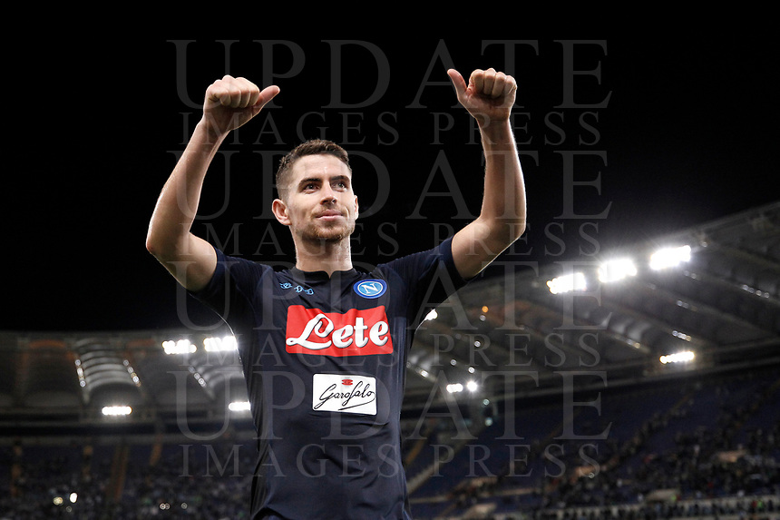 Calcio, Serie A: Roma, stadio Olimpico, 20 settembre 2017.<br /> Napoli's Jorginho celebrates after winning 3-1 the Italian Serie A football match between Lazio and Napoli at Rome's Olympic stadium, September 20, 2017.<br /> UPDATE IMAGES PRESS/Isabella Bonotto