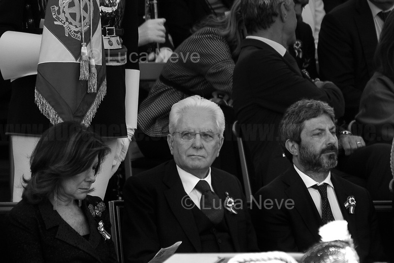 """(From L to R) Maria Elisabetta Alberti Casellati (President of the Senate), Sergio Mattarella (President of the Italian Republic), Roberto Fico (President of the Chamber of Deputies).<br /> <br /> Rome, 02/06/2019. Today, Italy celebrated the annual """"Festa Della Repubblica"""" (Republic Day, 1.). The 73rd Anniversary of the Italian Republic (*) was marked with the """"Raising the Flag Ceremony"""" and the tribute to the Sacello del Milite Ignoto (Unknown Soldier) at the Altare della Patria """"Vittoriano"""" (2.) by the President of the Italian Republic Sergio Mattarella, followed by the traditional army, veterans and civilians parade along Via Dei Fori Imperiali. This year, the President of the Republic was accompanied by the Defence Minister Elisabetta Trenta, the Italian Prime Minister Giuseppe Conte, the Presidents of the two Chambers of the Parliament, Roberto Fico and Maria Elisabetta Alberti Casellati, several members of the Italian Government, political leaders, senior officers of the Armed Forces and representatives of the Civilian Organizations. At the end of the events the Frecce Tricolori, the Italian Aerobatic Team, coloured the sky over Rome with the Tricolore (Tricolour: Green, White, Red) of the Italian Flag. The theme for this year's event was inclusiveness. <br /> <br /> Footnotes and Links:<br /> (*) The Referendum was held on 2 June 1946 and it marked the decision made by the Italian people to adopt the Republic as the new institutional form for the Country. <br /> 1. http://bit.do/eT8By (ITA) & http://bit.do/eT8Bv (ENG) at https://www.difesa.it/<br /> 2. http://bit.do/eT8BG (Wikipedia)"""