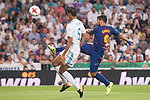 Real Madrid's Raphael Varane and FC Barcelona's Luis Suarez during Supercup of Spain 2nd match at Santiago Bernabeu Stadium in Madrid, Spain August 16, 2017. (ALTERPHOTOS/Borja B.Hojas)