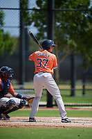 Houston Astros Nathan Perry (37) bats during a Minor League Spring Training Intrasquad game on March 28, 2019 at the FITTEAM Ballpark of the Palm Beaches in West Palm Beach, Florida.  (Mike Janes/Four Seam Images)