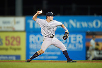 Staten Island Yankees second baseman Nick Solak (59) throws to first during a game against the Batavia Muckdogs on August 26, 2016 at Dwyer Stadium in Batavia, New York.  Staten Island defeated Batavia 6-2.  (Mike Janes/Four Seam Images)