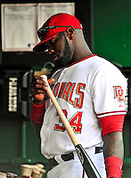 30 September 2009: Washington Nationals outfielder Elijah Dukes inspects his bat in the dugout prior to a game against the New York Mets at Nationals Park in Washington, DC. The Nationals rallied in the bottom of the 9th inning on a Justin Maxwell walk-off Grand Slam to win 7-4 and sweep the Mets 3-game series capping the Nationals' 2009 home season. Mandatory Credit: Ed Wolfstein Photo