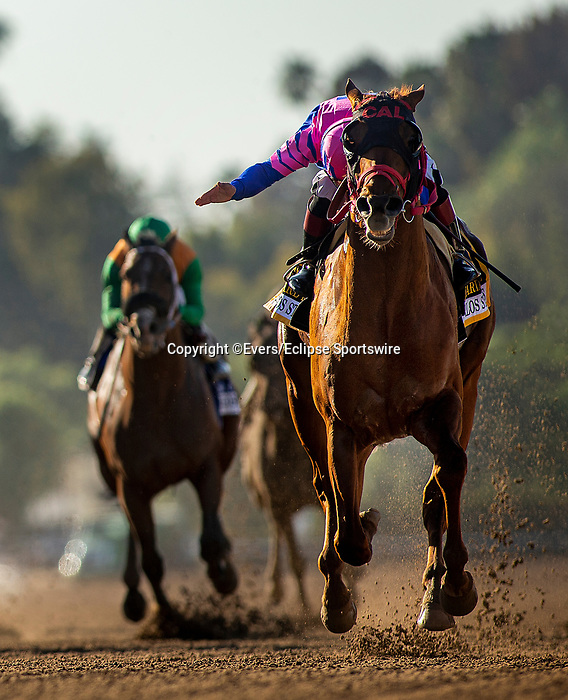 March 06, 2021: Alexis Centeno pats Brickyard Ride on the neck as they cross the wire first in the San Carlos Stakes at Santa Anita Park in Arcadia, California on March 06, 2021. Evers/Eclipse Sportswire/CSM