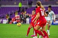 ORLANDO, FL - FEBRUARY 21: Jordyn Listro #21 of the CANWNT kicks the ball during a game between Argentina and Canada at Exploria Stadium on February 21, 2021 in Orlando, Florida.