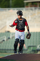 Kannapolis Intimidators catcher Daniel Gonzalez (23) uses the rosin bag during the game against the Greensboro Grasshoppers at Intimidators Stadium on July 17, 2016 in Greensboro, North Carolina.  The Grasshoppers defeated the Intimidators 5-4 in game two of a double-header.  (Brian Westerholt/Four Seam Images)