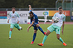 11.10.2020, Marschwegstadion, Oldenburg, GER, RL Nord,, Gruppe Süd VfB Oldenburg vs SV Werder Bremen U23,  DFL regulations prohibit any use of photographs as image sequences and/or quasi-video, im Bild<br /> Nico MATERN (VfB Oldenburg #8 ) Yannik ENGELHARDT (SV Werder Bremen U23 #8 ) Keanu SCHNEIDER (SV Werder Bremen U23 #19 )<br /> <br /> Foto © nordphoto / Rojahn