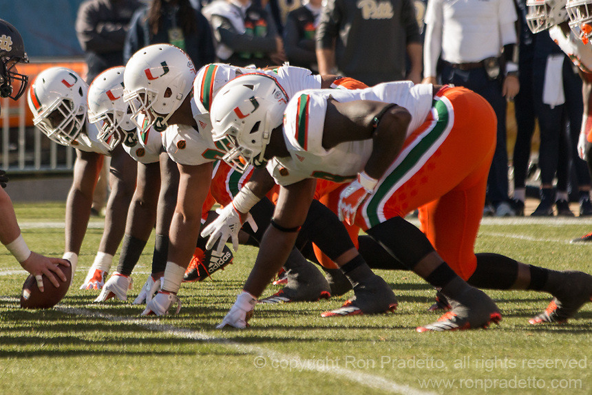 Miami Hurricanes defensive line. The Pitt Panthers upset the undefeated Miami Hurricanes 24-14 on November 24, 2017 at Heinz Field, Pittsburgh, Pennsylvania.
