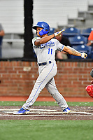 Burlington Royals Kevon Jackson (11) swings at a pitch during game one of the Appalachian League Championship Series against the Johnson City Cardinals at TVA Credit Union Ballpark on September 2, 2019 in Johnson City, Tennessee. The Royals defeated the Cardinals 9-2 to take the series lead 1-0. (Tony Farlow/Four Seam Images)