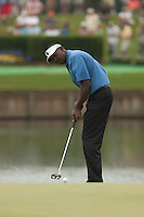 PONTE VEDRA BEACH, FL - MAY 6: Vijay Singh putts on the 17th green during his practice round on Wednesday, May 6, 2009 for the Players Championship, beginning on Thursday, at TPC Sawgrass in Ponte Vedra Beach, Florida.