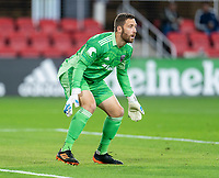 WASHINGTON, DC - APRIL 17: Chris Seitz #1 of D.C. United looks to the ball during a game between New York City FC and D.C. United at Audi Field on April 17, 2021 in Washington, DC.