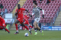 Aaron Collins of Forest Green Rovers and Ousseynou Cisse of Leyton Orient during Leyton Orient vs Forest Green Rovers, Sky Bet EFL League 2 Football at The Breyer Group Stadium on 23rd January 2021