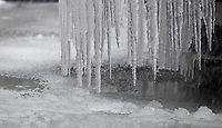 Icicles form on a fountain as Beast from the East weather continues at City of London, London, England on 1 March 2018. Photo by Andy Rowland.