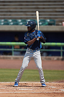 Edmond Americaan (20) of the Myrtle Beach Pelicans at bat against the Lynchburg Hillcats at Bank of the James Stadium on May 23, 2021 in Lynchburg, Virginia. (Brian Westerholt/Four Seam Images)