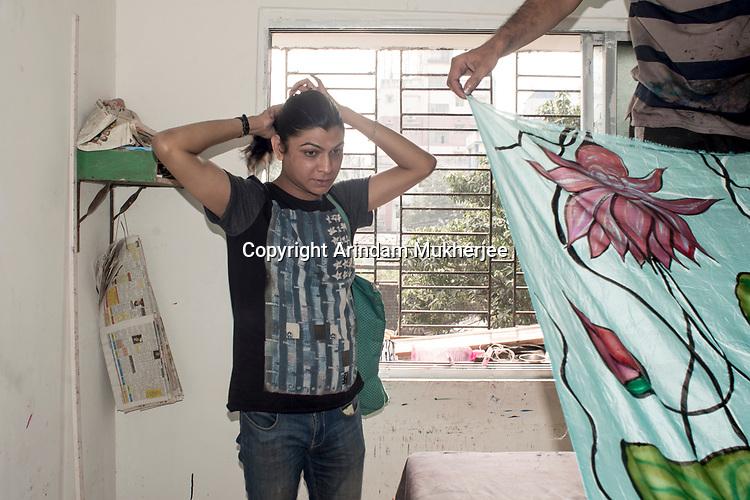Dipmalya(Diya), at her cloth designing workshop in Kolkata, India. Arindam Mukherjee