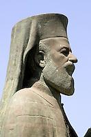 Denkmal von Erzbischof Makarios III vor dem Bischofspalast, Nicosia, Zypern (Süd)