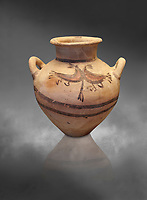 Mycenaean pot with cycladic style design , Grave Circle B, Mycenae 17-16thj Cent BC. National Archaeological Museum Athens.  Grey art Background <br /> <br /> Bichromatic Cycladic style Mycenaean pot depicting birds. Cat No 8615