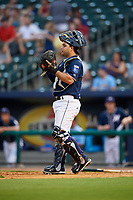 Northwest Arkansas Naturals catcher Luis Villegas (19) during a game against the Midland RockHounds on May 27, 2017 at Arvest Ballpark in Springdale, Arkansas.  NW Arkansas defeated Midland 3-2.  (Mike Janes/Four Seam Images)