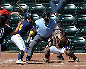 Michigan Wolverines Softball catcher Caitlin Blanchard (44) at bat in front of umpire Rick Tumblestone and catcher Melissa Berouty during a game against the Bethune-Cookman on February 9, 2014 at the USF Softball Stadium in Tampa, Florida.  Michigan defeated Bethune-Cookman 12-1.  (Copyright Mike Janes Photography)