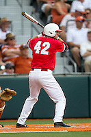 Houston Cougars pinch hitter Jacob Campbell (42) at bat during the NCAA baseball game against the Texas Longhorns on June 6, 2014 at UFCU Disch–Falk Field in Austin, Texas. The Longhorns defeated the Cougars 4-2 in Game 1 of the NCAA Super Regional. (Andrew Woolley/Four Seam Images)