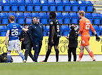 St Johnstone v Livingston…15.05.21  SPFL McDiarmid Park<br />A happy saints manager Callum Davidson pictured at full time with Liam Craig<br />Picture by Graeme Hart.<br />Copyright Perthshire Picture Agency<br />Tel: 01738 623350  Mobile: 07990 594431
