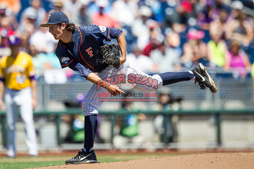 Cal State Fullerton pitcher Connor Seabold (26) delivers a pitch to the plate during the NCAA College baseball World Series against the LSU Tigers on June 16, 2015 at TD Ameritrade Park in Omaha, Nebraska. LSU defeated Fullerton 5-3. (Andrew Woolley/Four Seam Images)