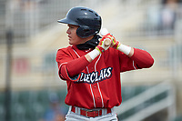 Simon Muzziotti (12) of the Lakewood BlueClaws at bat against the Kannapolis Intimidators at Kannapolis Intimidators Stadium on April 8, 2018 in Kannapolis, North Carolina.  The Intimidators defeated the BlueClaws 4-3 in game two of a double-header.  (Brian Westerholt/Four Seam Images)