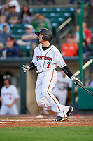 Rochester Red Wings catcher Wynston Sawyer (7) hits a single during a game against the Pawtucket Red Sox on May 19, 2018 at Frontier Field in Rochester, New York.  Rochester defeated Pawtucket 2-1.  (Mike Janes/Four Seam Images)