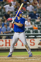 Iowa Cubs third baseman Josh Vitters (1) at bat against the Round Rock Express in the Pacific Coast League baseball game on July 21, 2013 at the Dell Diamond in Round Rock, Texas. Round Rock defeated Iowa 3-0. (Andrew Woolley/Four Seam Images)