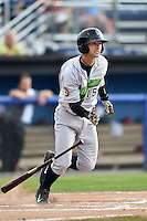 Jamestown Jammers shortstop Tyler Filliben (15) at bat during a game against the Batavia Muckdogs on July 7, 2014 at Dwyer Stadium in Batavia, New York.  Batavia defeated Jamestown 9-2.  (Mike Janes/Four Seam Images)