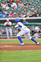 Tennessee Smokies right fielder Roberto Caro (25) squares to bunt during a game against the Birmingham Barons at Smokies Stadium on May 15, 2019 in Kodak, Tennessee. The Smokies defeated the Barons 7-3. (Tony Farlow/Four Seam Images)