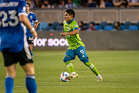 SAN JOSE, CA - MAY 12: Raul Ruidiaz  #9 of the Seattle Sounders looks up to pass the ball during a game between San Jose Earthquakes and Seattle Sounders FC at PayPal Park on May 12, 2021 in San Jose, California.